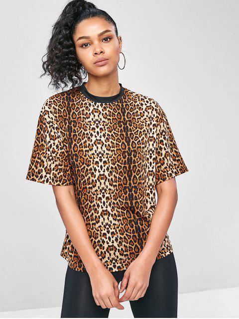 Lässige Leopard - Tunika- T-Shirt - Leopard L Mobile