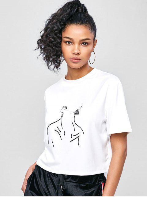 Bestickte Fallen- Schulter - Zahl- T-Shirt - Weiß S Mobile
