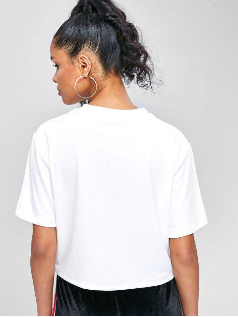 Drop Schulter Stick Figure T-Shirt - Weiß L Mobile