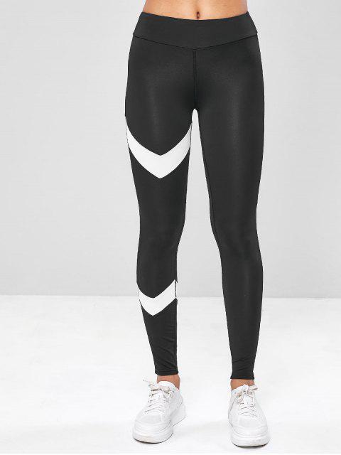 Leggings elásticos de entrenamiento de dos tonos gimnasio - Negro M Mobile