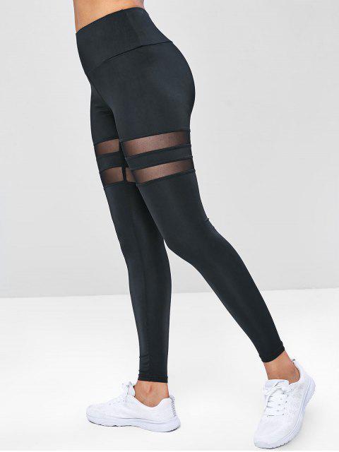 latest Wide Waistband Mesh Insert Gym Leggings - BLACK M Mobile
