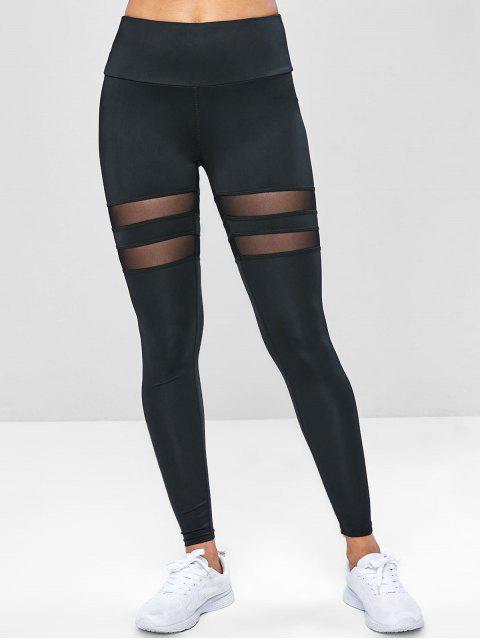 trendy Wide Waistband Mesh Insert Gym Leggings - BLACK L Mobile