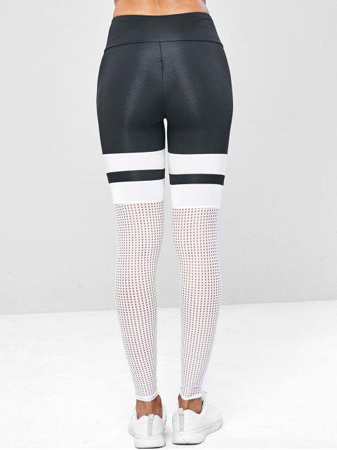 Leggings perforados color block yoga gym - Blanco S Mobile