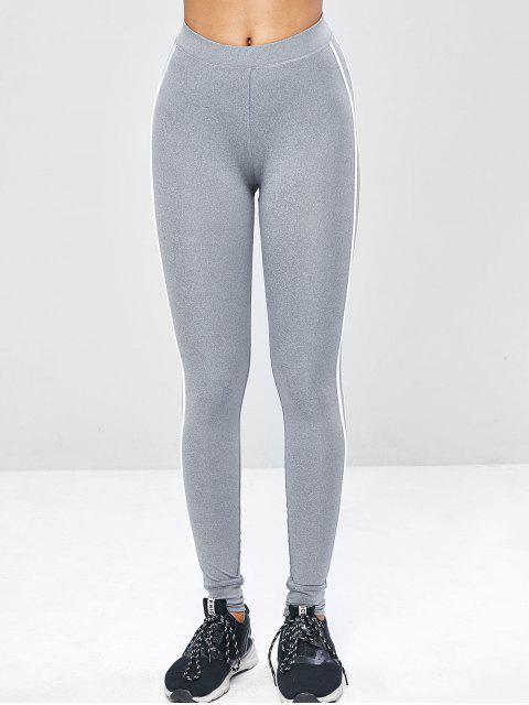 Contrast Side Sports Gym Jogger Pants - Hellgrau L Mobile