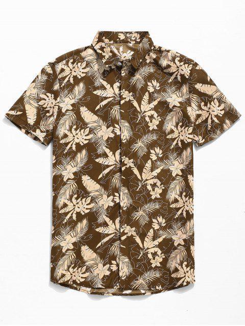 Camisa de manga corta con botones tropicales - Caqui 2XL Mobile