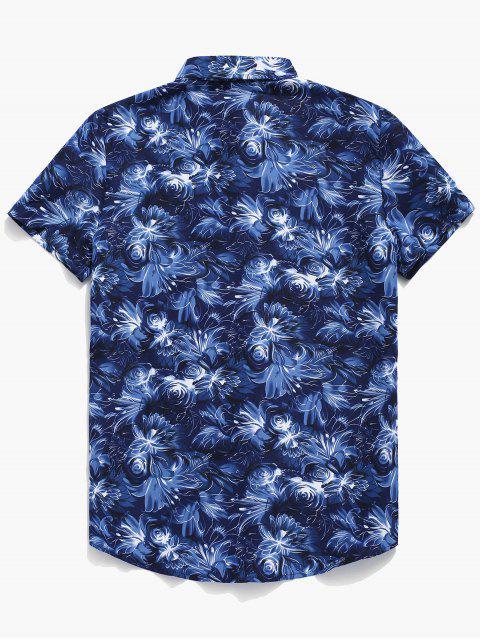 Camisa con botones y estampado de flores - Azul 2XL Mobile