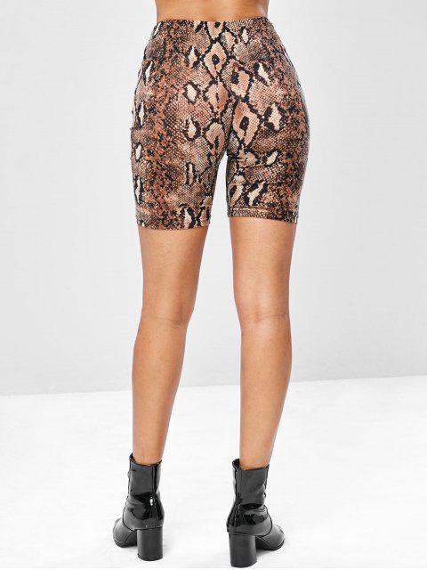 latest Snake Print Mid Thigh Biker Shorts - MULTI M Mobile