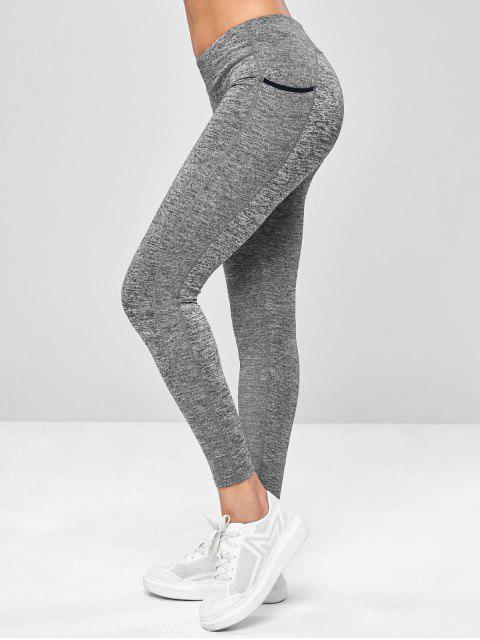 Neunte Tasche-Trainieren- Yoga- Gamaschen - Dunkelgrau M Mobile