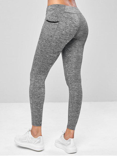 Leggings de yoga para entrenamiento de noveno bolsillo - Gris Oscuro L Mobile