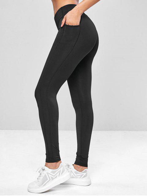 unique Ninth Pocket Workout Yoga Leggings - BLACK L Mobile