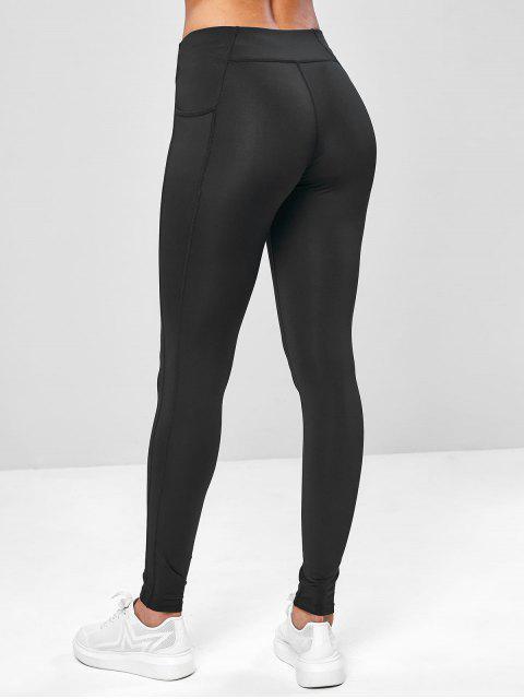 sale Ninth Pocket Workout Yoga Leggings - BLACK XL Mobile