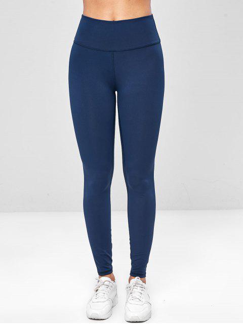Leggings de gimnasia de yoga de cintura ancha elástica - Cadetblue L Mobile