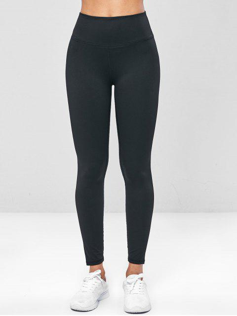Leggings de gimnasia de yoga de cintura ancha elástica - Negro L Mobile