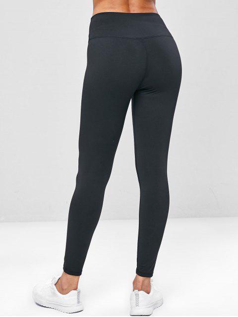 Leggings de gimnasia de yoga de cintura ancha elástica - Negro XL Mobile