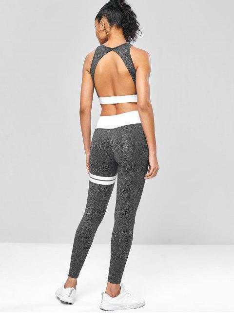 Trajes de yoga gimnasio recortado marled - Gris Oscuro M Mobile