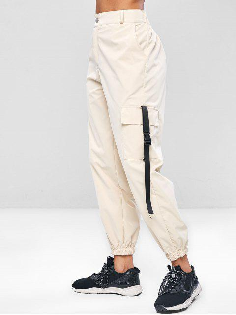lady ZAFUL Zipper Cargo Pants - ANTIQUE WHITE M Mobile