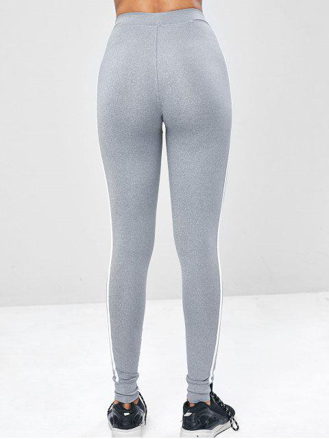 lady Contrast Side Sports Gym Jogger Pants - LIGHT GRAY L Mobile