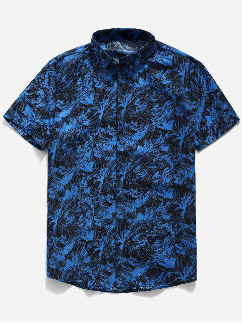 Botón de impresión de hoja de palma hasta camisa - Azul 3XL Mobile