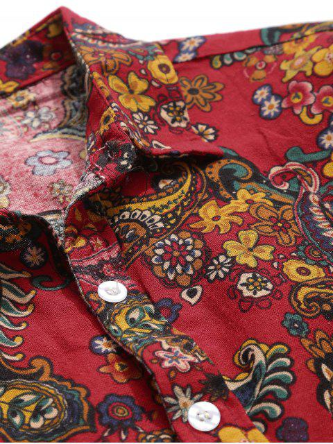 outfit Paisley Print Short Sleeve Shirt - RED L Mobile