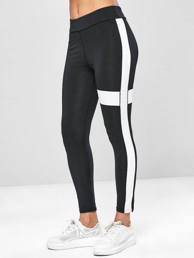 4f2e74186e03ab Two Tone Workout Yoga Leggings - Black - Black M ...