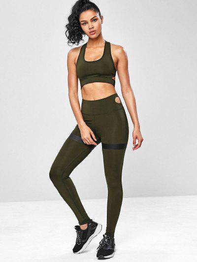 340c637a7b ... Racerback Cut Out Gym Yoga Suits - Army Green S