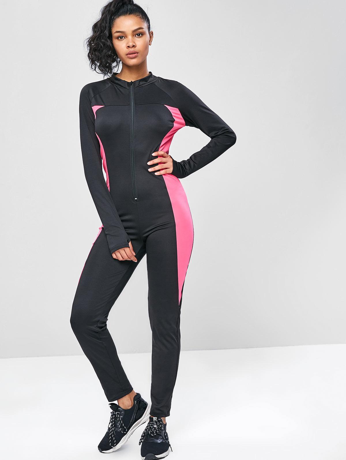 Long Sleeve Zip Two Tone Gym Jumpsuit, Black