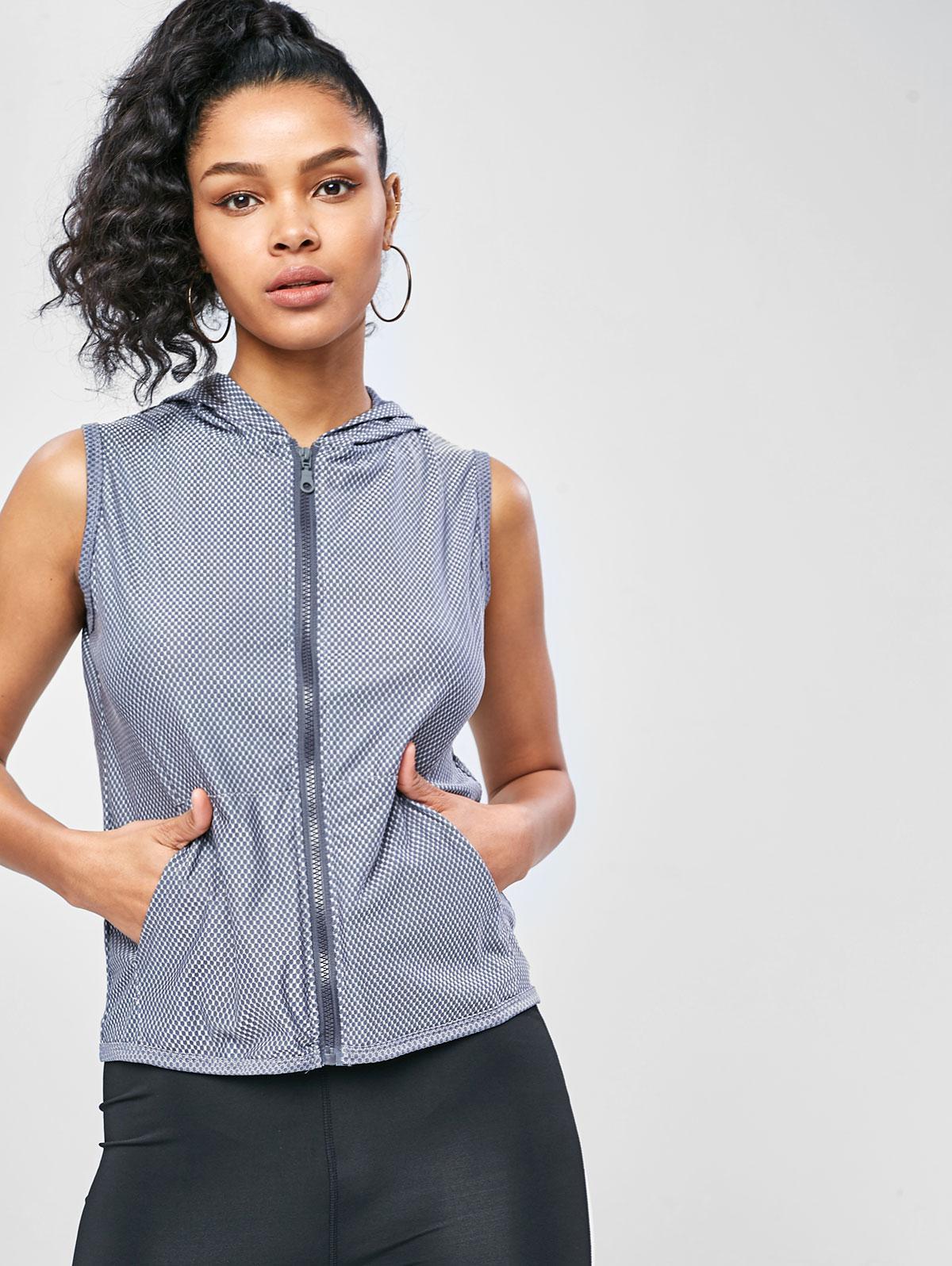 Pocket Zip Hooded Gym Tank Top