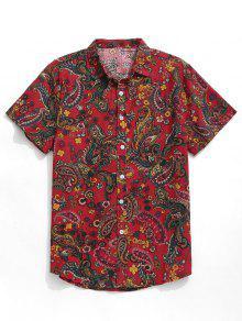 قميص بيزلي بطباعة كم قصير - أحمر L