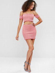 cea021778 31% OFF] 2019 Gingham Print Smocked Crop Top Skirt Matching Set In ...