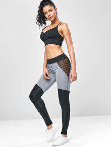 f3c195d08a5f5 40% OFF] 2019 Two Tone Mesh Yoga Gym Leggings In BLACK | ZAFUL