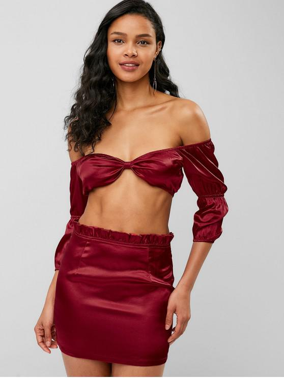 hot ZAFUL Off Shoulder Crop Satin Skirt Set - RED WINE XL