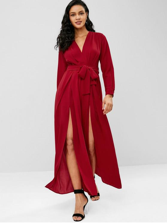 chic Plunging High Slit Wide Leg Jumpsuit - RED WINE L