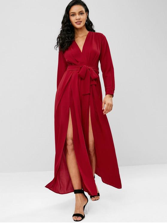 fancy Plunging High Slit Wide Leg Jumpsuit - RED WINE S