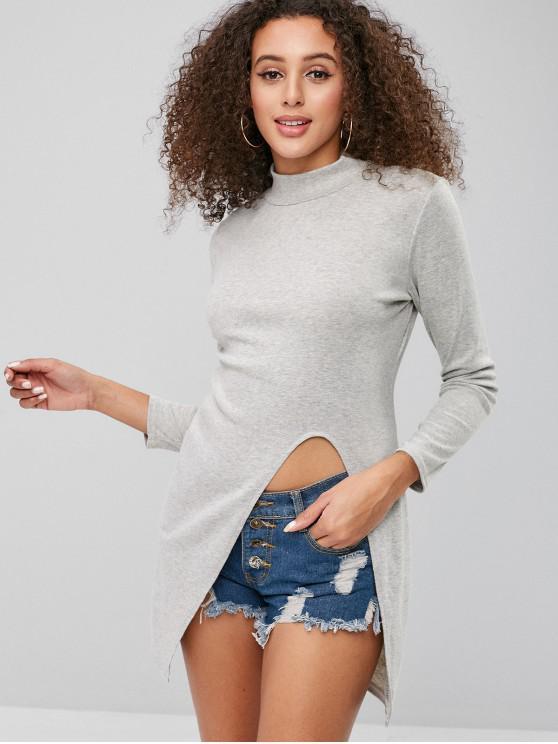 Slim-T-Shirt mit tiefem Ausschnitt vorne - Grau S