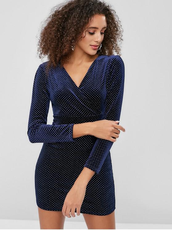 ladies Rhinestone Velvet Mini Bodycon Dress - BLUE ONE SIZE