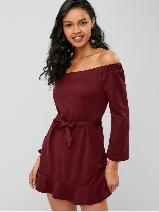lady Belted Off Shoulder Flounce Dress - RED WINE L
