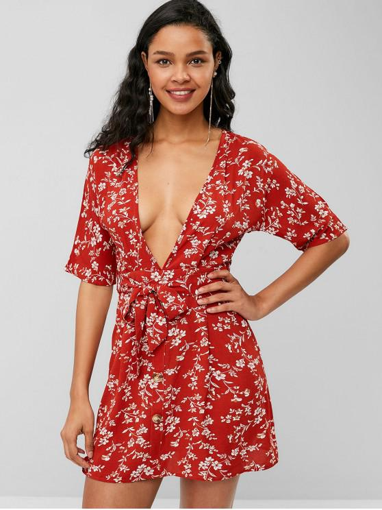 womens ZAFUL Open Back Buttoned Floral Dress - CHESTNUT RED S
