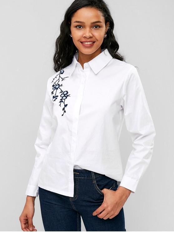زهرة مطرزة زر حتى القميص - أبيض XL
