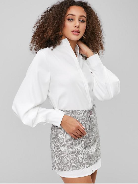 shop Button Fly Lantern Sleeve Blouse - WHITE L