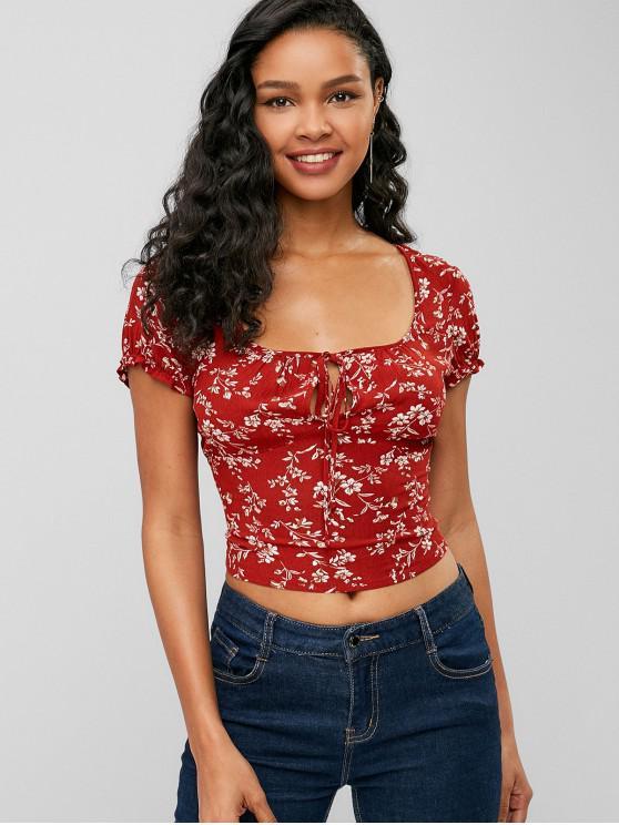 Blusa corta con estampado floral estampada - Rojo S