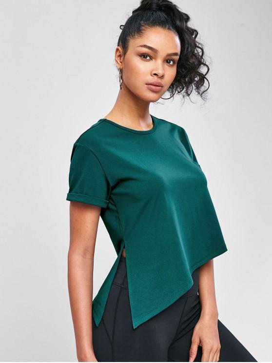 T-Shirt Asimmetrica A Fessura Laterale - Verde scuro M
