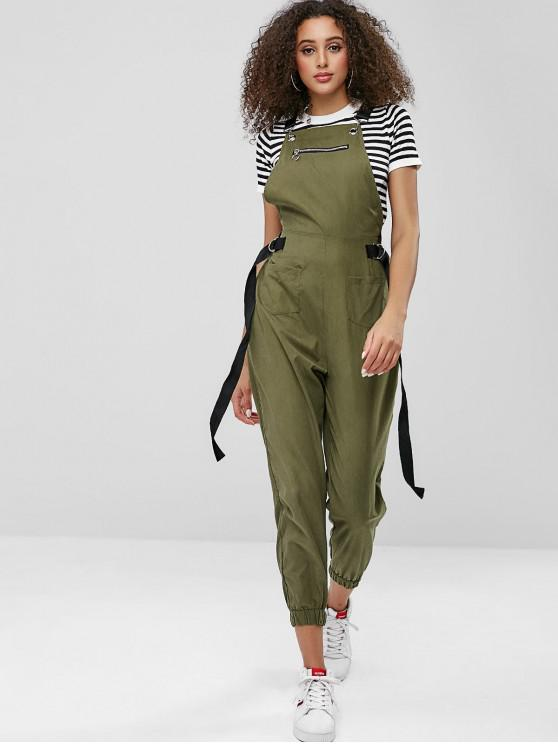 72e75ab7c300 30% OFF  2019 Front Pockets Zippered Jogger Overalls In ARMY GREEN ...