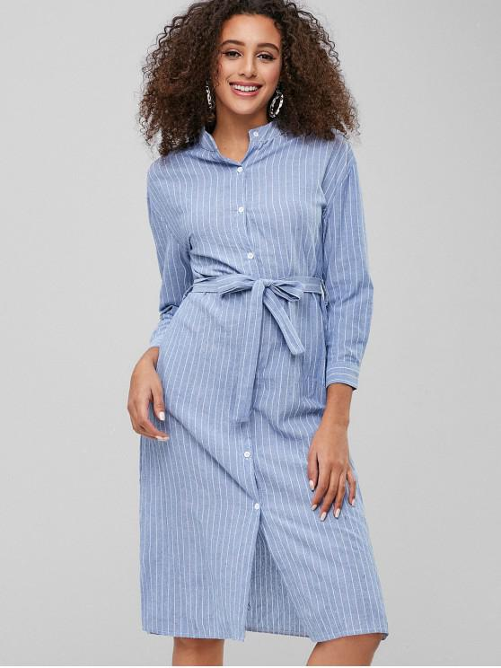 trendy Casual Striped Belted Shirt Dress - SKY BLUE M
