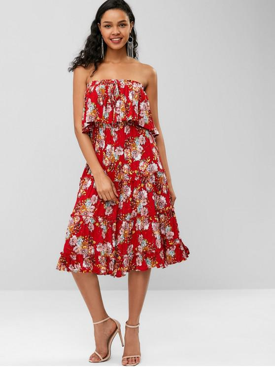 c505180db4d 43% OFF  2019 Bohemian Flower Strapless Flounce Dress In RED