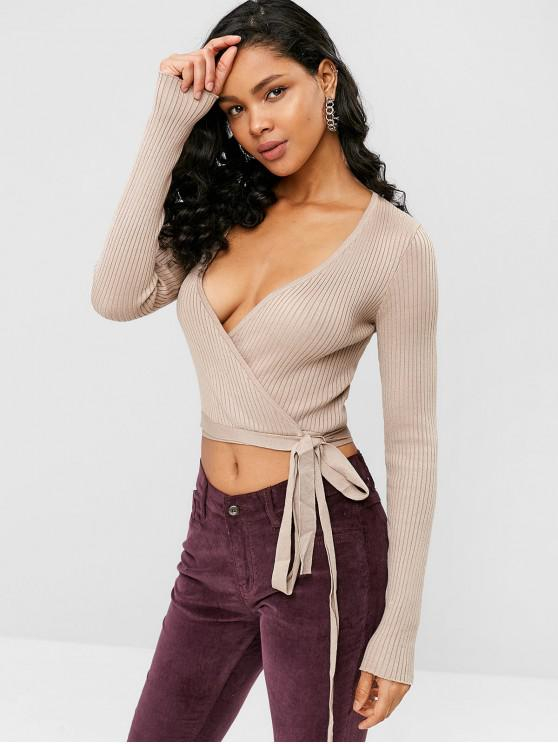 new Ribbed Plunging Wrap T-shirt - TAN ONE SIZE