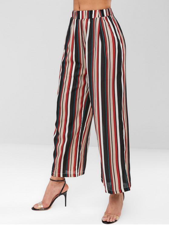 Pantalon Rayé à Jambe Large - Noir L