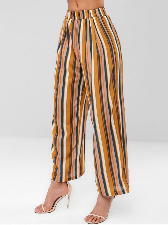 buy Striped Wide Leg Pants - YELLOW L