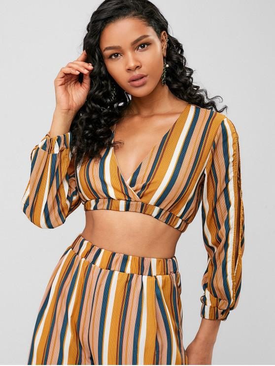 outfit Striped Split Sleeve Crop Blouse - YELLOW M