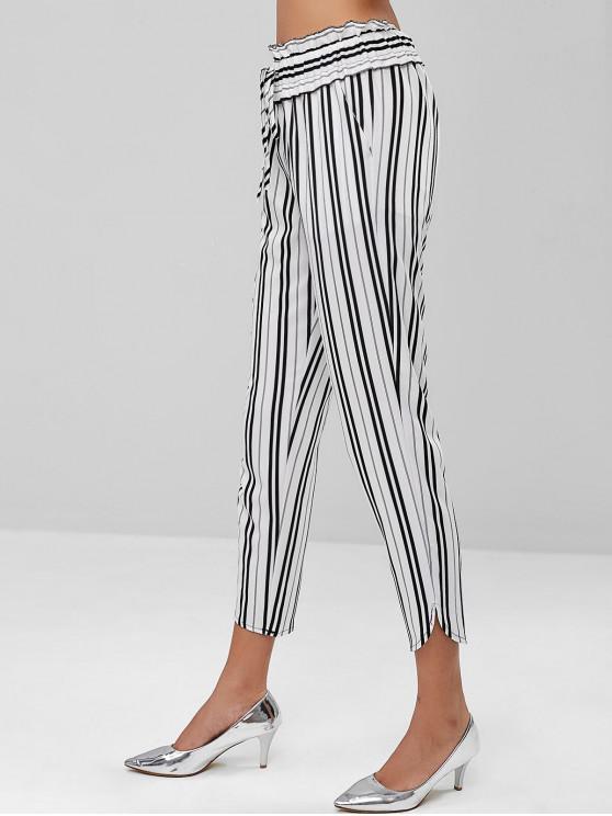 Rayas rectas bolsillos pantalones - Multicolor S
