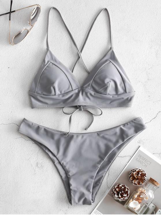 ZAFUL Ensemble de Bikini Cousu Croisé à Bretelle - Ardoise grise L